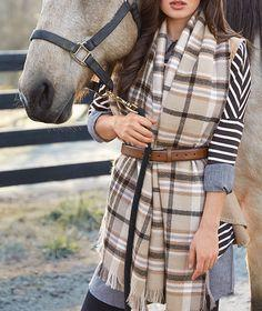 Tan and Black Plaid Blanket Scarf