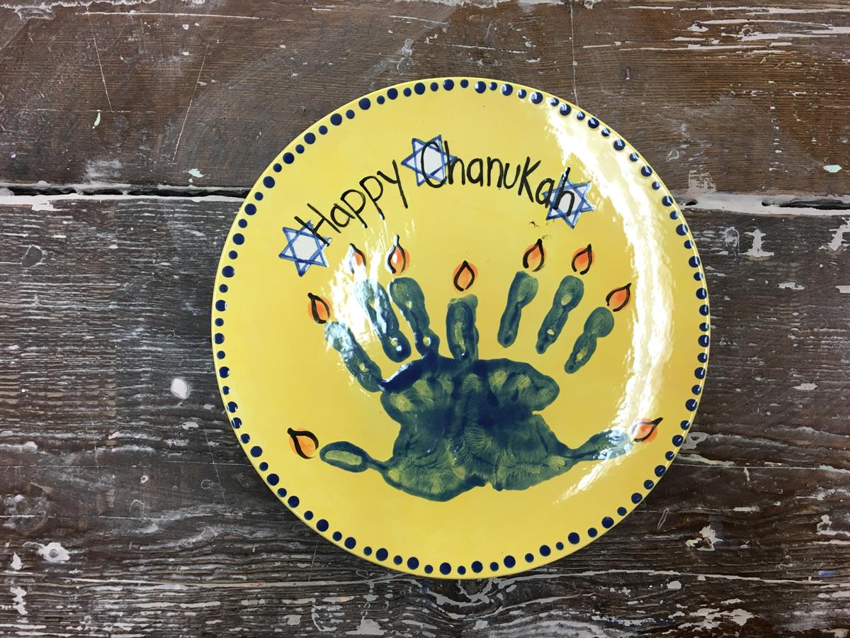"""<span style=""""font-size:36px"""">Menorah Handprint Plate Mommy and Me Class</span>"""