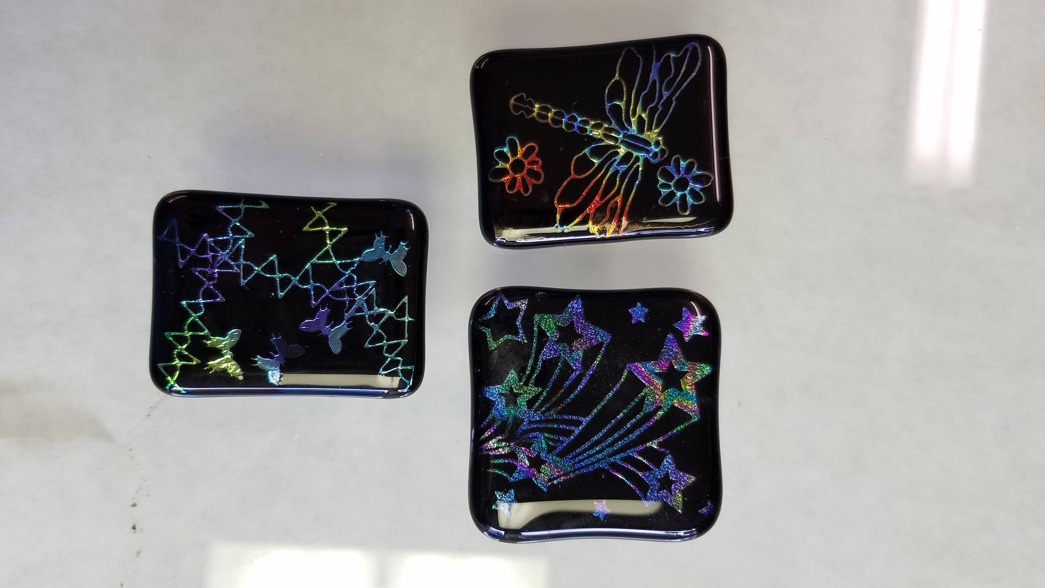 Dichroic Etched Pendants