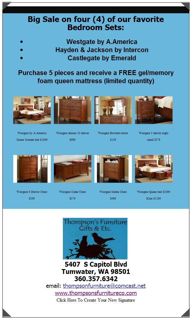Thompsonu0027s Furniture   UPDATE: Save Now On Select Bedroom Sets + FREE Offer