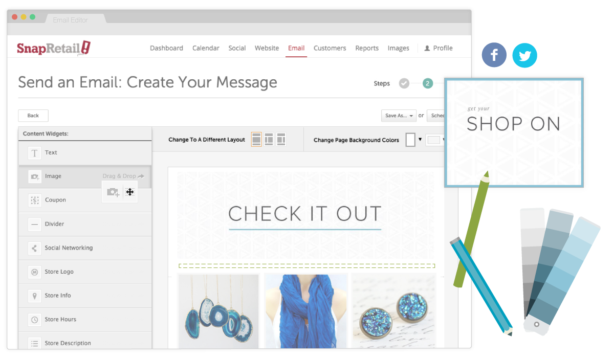 SnapRetail Features: Email Marketing Made Easy with Our Email Editor, Sell Online, Pin Images, and More