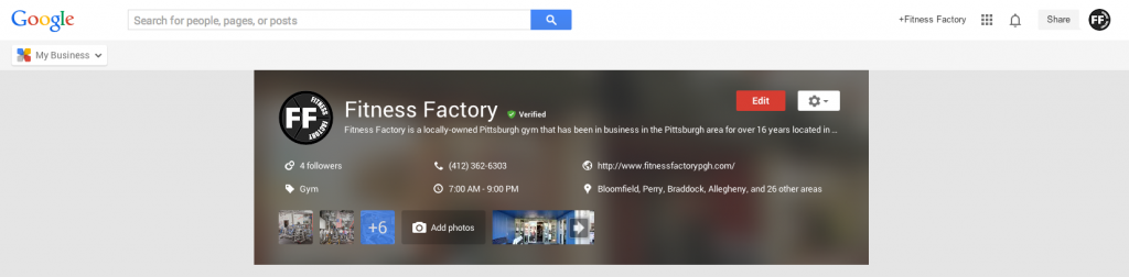 SnapRetail customer, Fitness Factory, shows their Google account Homepage