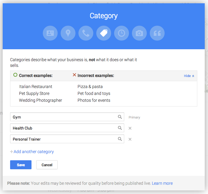 Editing the business category for Google