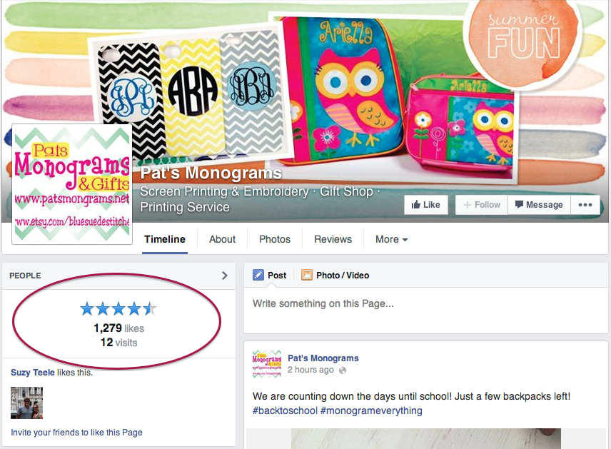 A SnapRetail customer encourages reviews on Facebook