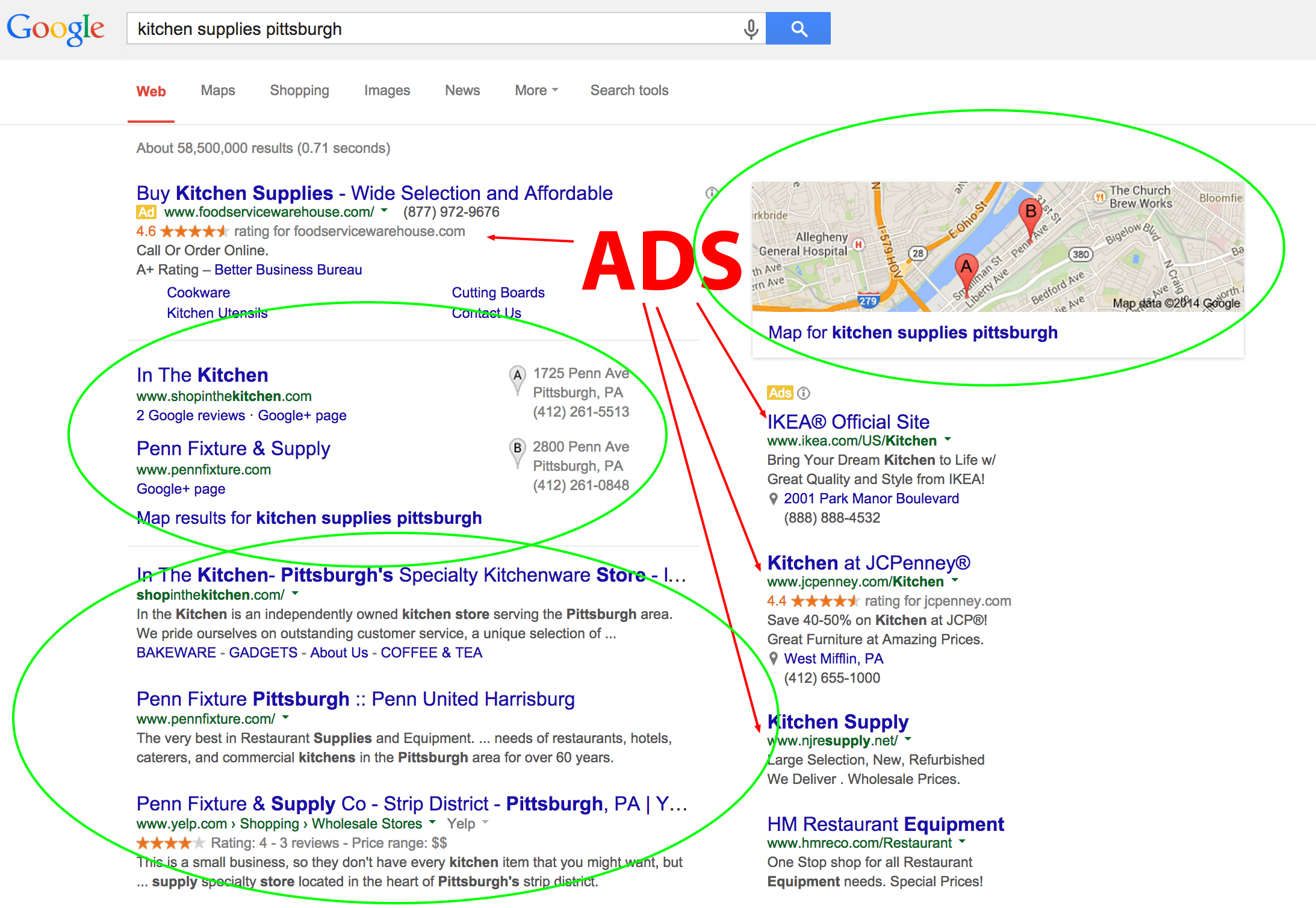Showing how local search narrows down the results greatly