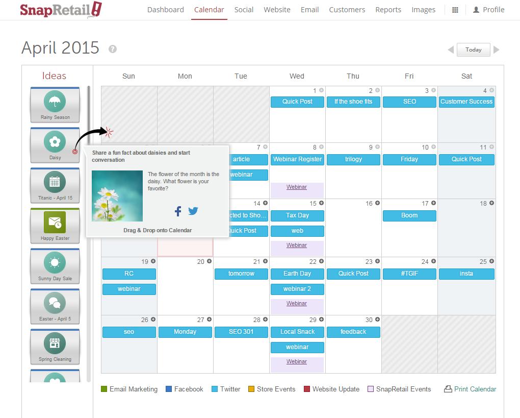 Using the idea bar to easily fill the calendar