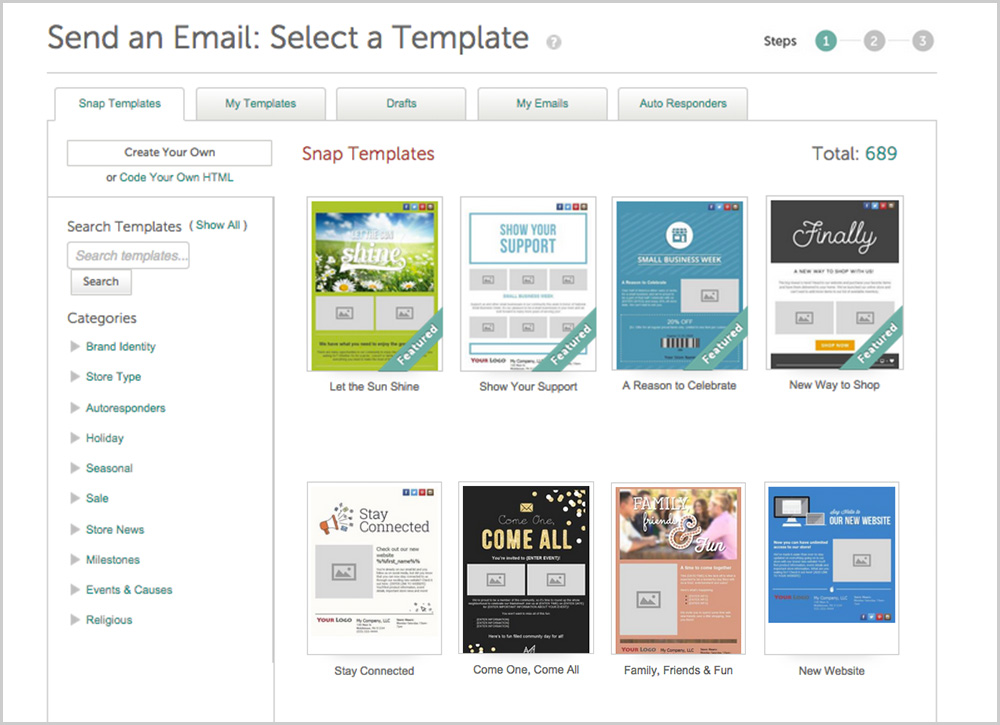 Selecting a professionally designed retail email template