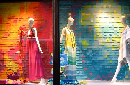 Window display using post-it notes