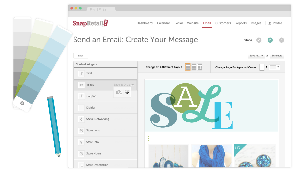 Drag-and-drop to personalize and customize our email templates