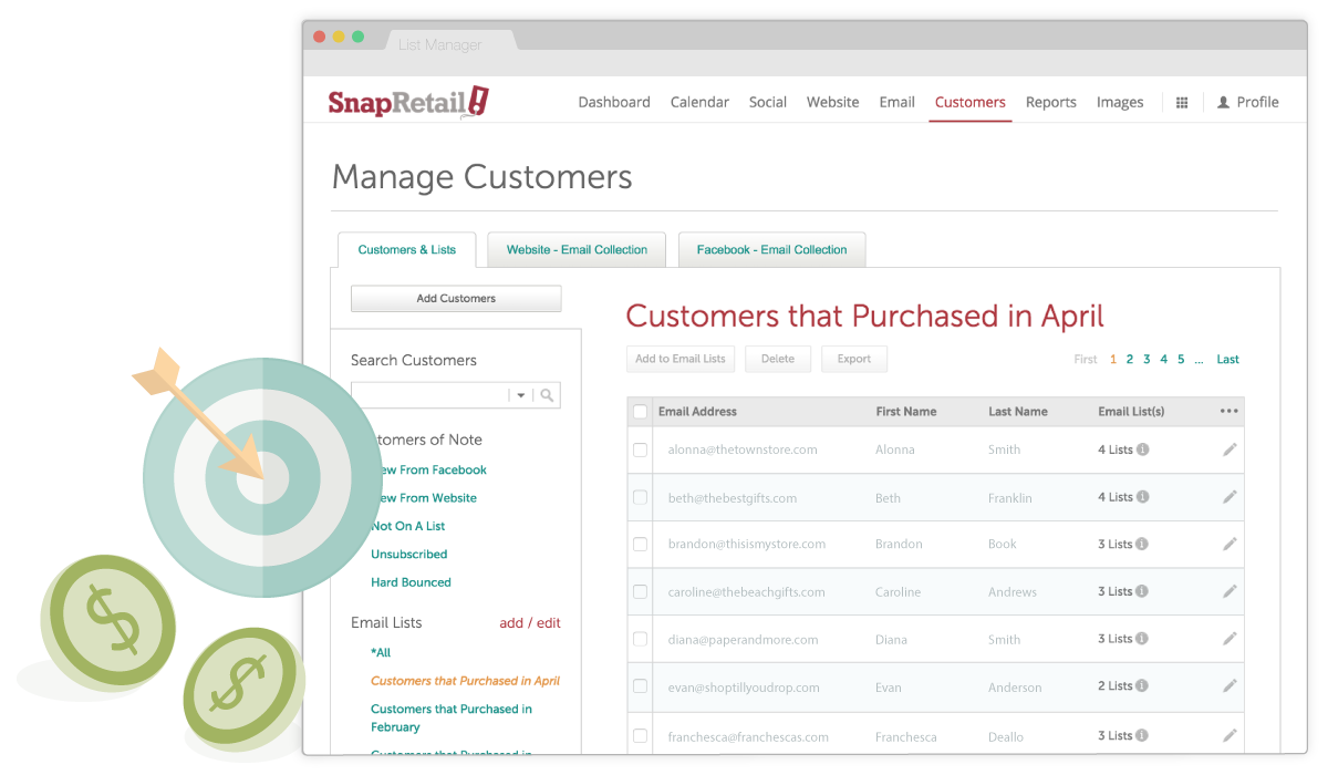Target emails to custom send lists to drive sales