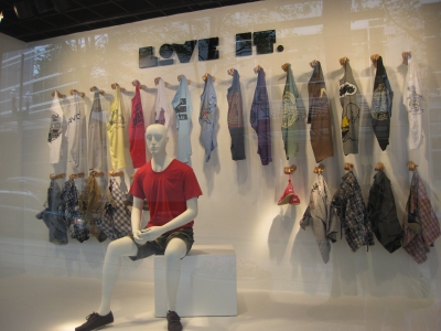Window display featuring repetition of shirts