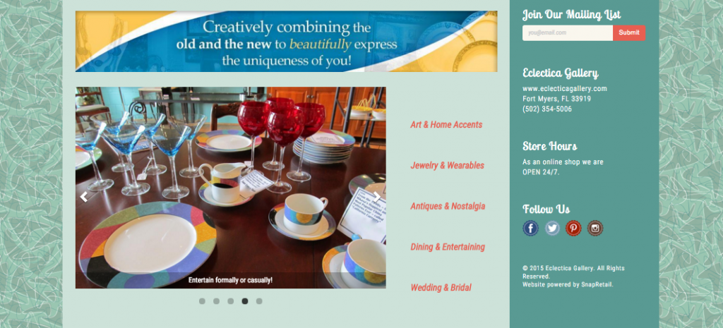 Image Carousel on Eclectica Gallery Website