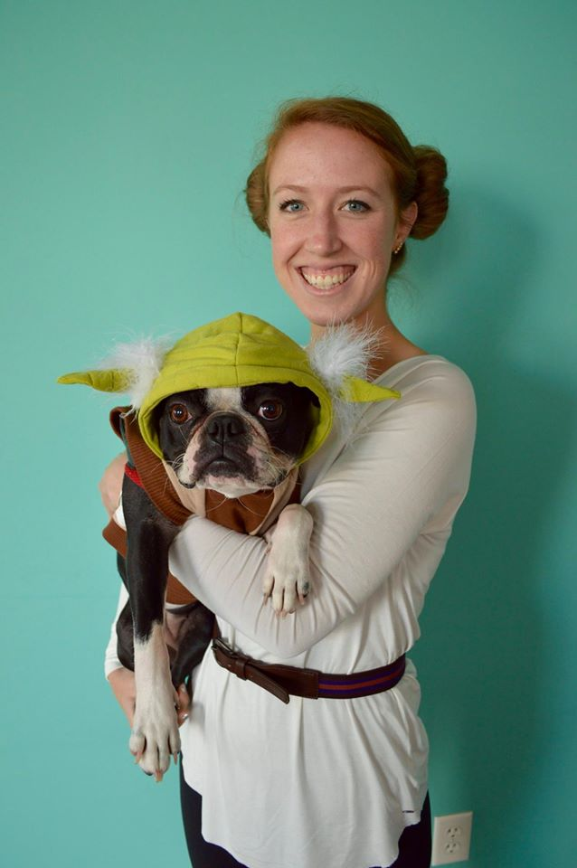 Kelly as Leia and Riley as Yoda