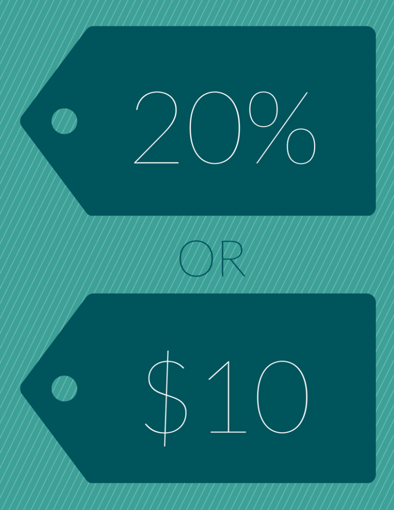 20% or $10 tag for coupon
