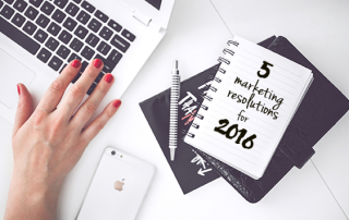5 Marketing Resolutions written on notebook