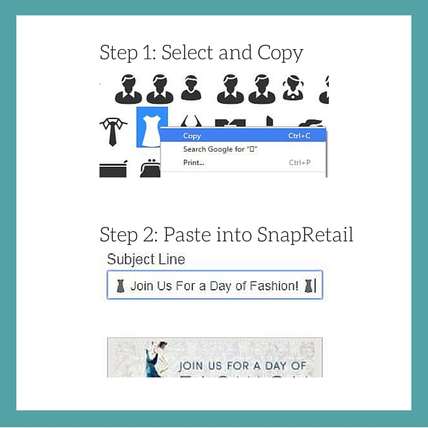 Placing an emoji into your SnapRetail email subject line