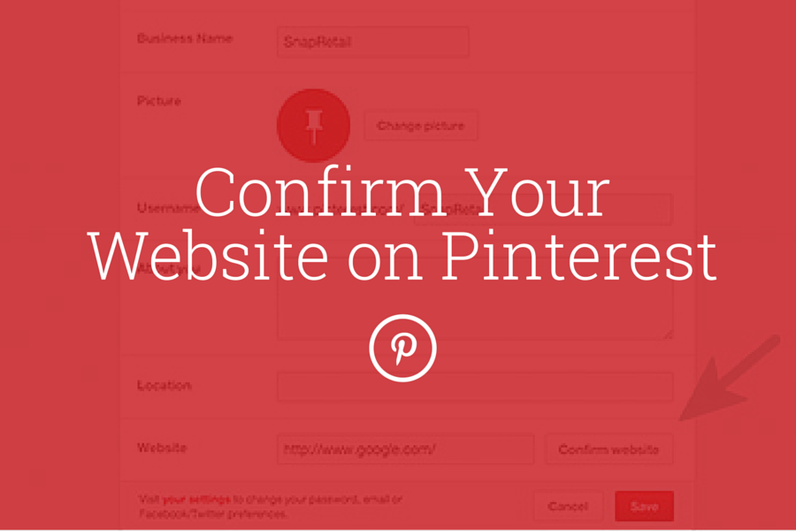 [BLOG SnapRetail] Confirm Your Website on Pinterest