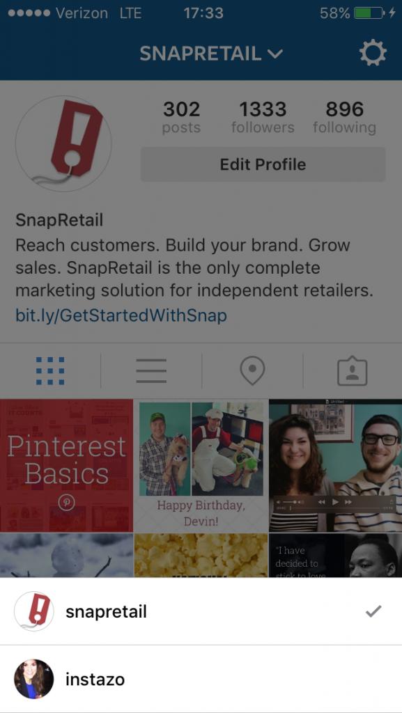 Switch Between Instagram Accounts Screen
