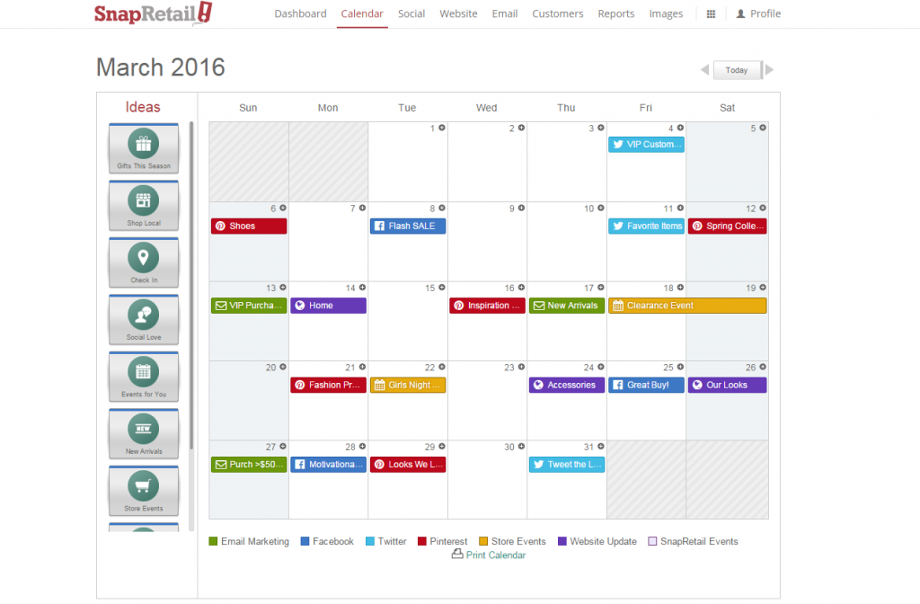 SnapRetail Calendar Planning