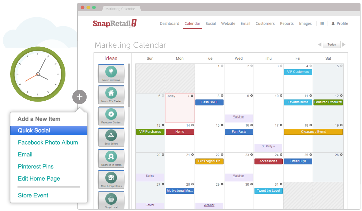 Schedule your month of marketing ahead of time with the SnapRetail planning calendar