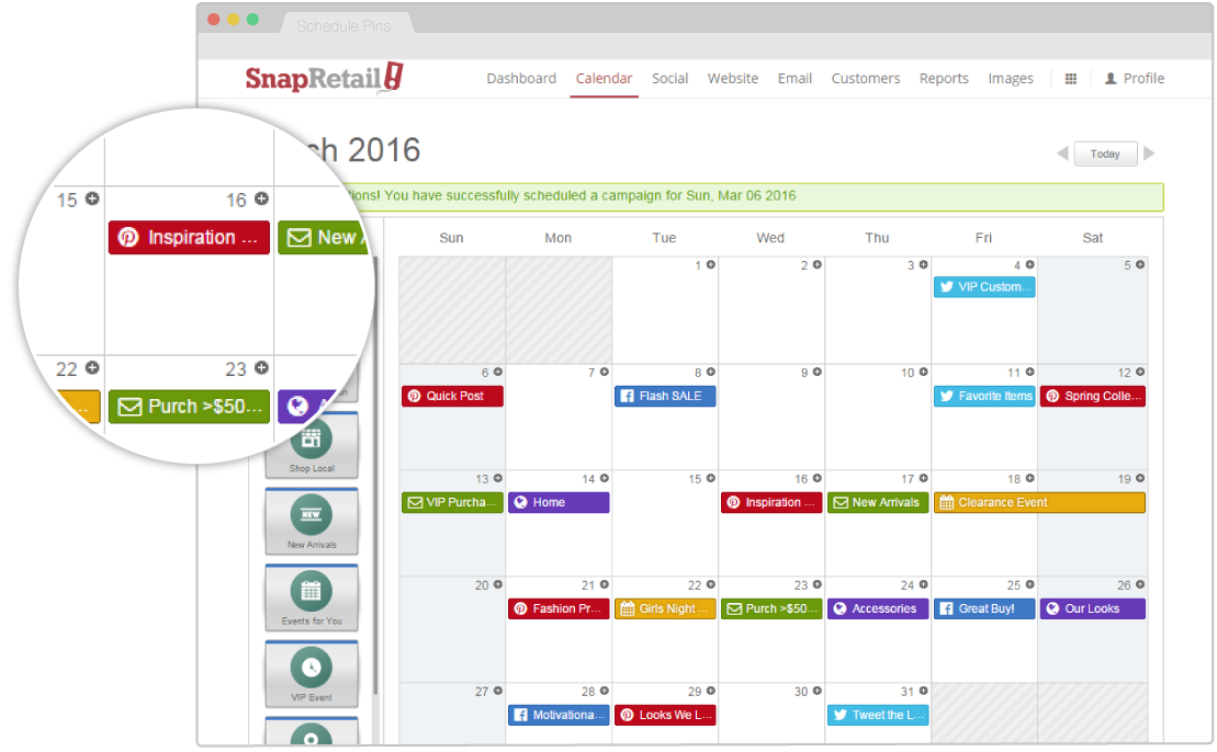 Schedule your Pinterest Pins easily from SnapRetail
