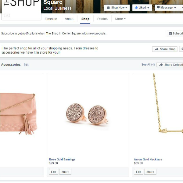 Add collections to help your customers browse your Facebook Store