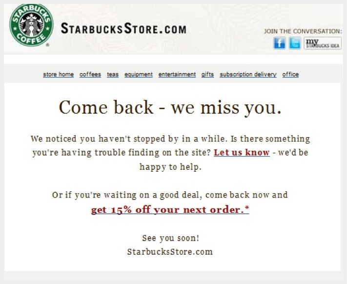 Starbucks reengages email marketing customers