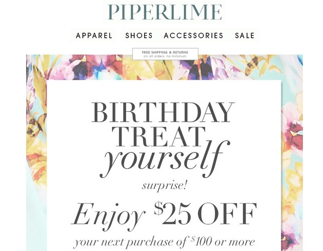 Piperlime showcasing a birthday auto responder email